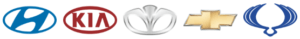 логотипы Hyundai, KIA, SsangYong, Daewoo и Chevrolet